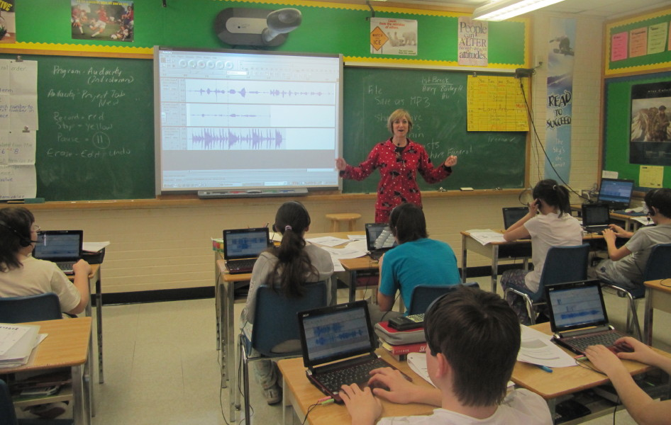 Teacher podcasting in classroom
